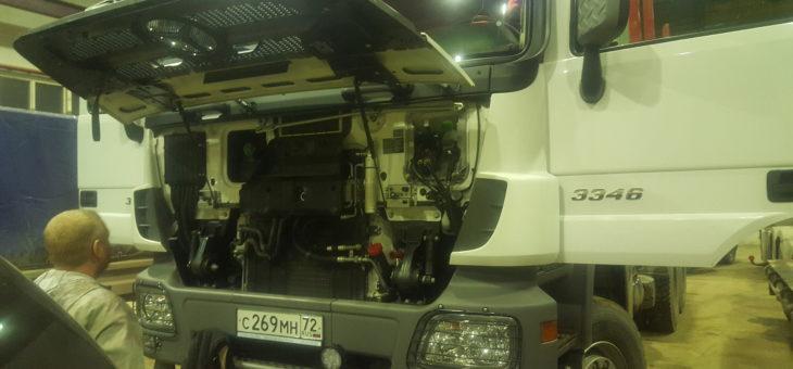 Установка тахографа и глонасс на Mercedes-Benz Actros 3 3346