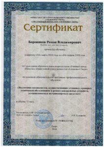 Боровиков сертификат 1